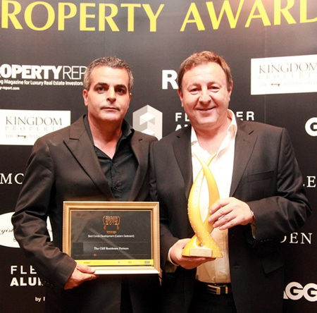 Project partners Kobi Elbaz, CEO of the Tulip Group (left) and Rony Fineman, President of the Nova Group (right) pose with their 'Best Condo Eastern Seaboard' award for The Cliff condominium at the Thailand Property Awards Gala presentation ceremony in Bangkok, October 2012.