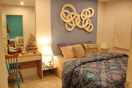 A typical bedroom on display at the project's showroom.