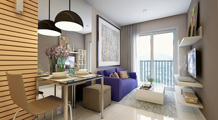 Unit sizes range from 28.6 - 68.3sqm and start from 990,000 baht.