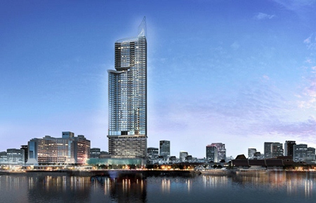 An artist's rendering shows the planned riverside Menam Residences condominium on Charoen Krung Road.