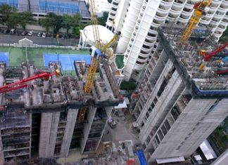 Construction work well underway on the Zire Wongamat condominium.
