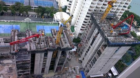 Construction work well underway on the Zire Wongamat condominium.