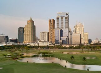 The St. Regis in Bangkok (center right) is one of a growing number of high-end luxury condominium projects in the capital offering 5-star branded service and facilities.