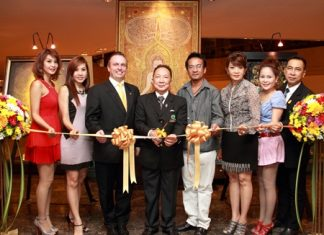 """M.R. Somlabh Kitiyakara (4th left) presided over the opening ceremony of the art exhibition titled """"The Traces of Faith No.3"""" by Sivakorn Poomthong at the Amari Watergate Bangkok recently. Proceeds of the event are for the benefit of underprivileged children in the Bangkok communities. In attendance were (l-r) Tichacha Boonruangkao, Sarita Sawaskumthon, Pierre Andre Pelletier, the hotel's GM, M.R. Somlabh Kitiyakara, Sivakorn Poomthong, Nichaya Chaivisuth, Hotel's Director of Communications and PR, Udomporn Kraitin and Wuttichai Usavatasanont."""