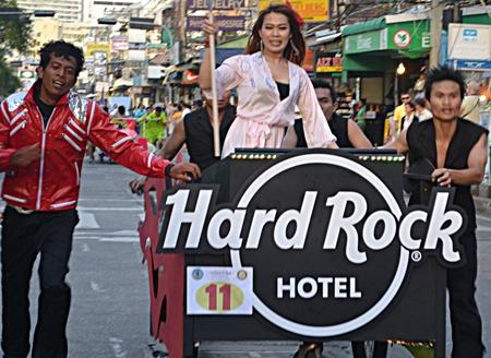 A Michael Jackson lookalike helped the Hard Rock Hotel cross the finish line.