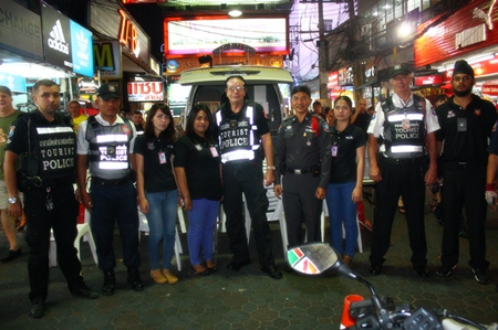 Tourist police and volunteers are out in full force to assist tourists along Walking Street.