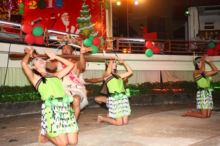 Maori dancers perform on Christmas Day at the Diana Inn.