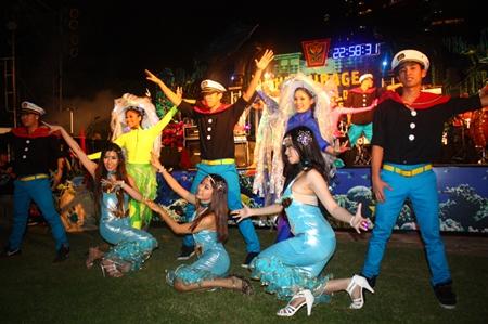 Sailors, mermaids and beautiful jelly-fish perform the Underwater World theme at Centara Grand Mirage Beach Resort Pattaya.
