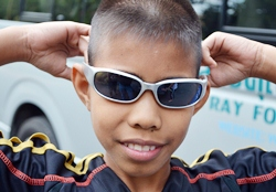 Several children were prescribed sunglasses to protect their eyes.