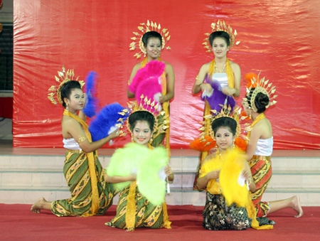 As part of the fun entertainment, children perform dances in costumes contributed by anonymous donors.