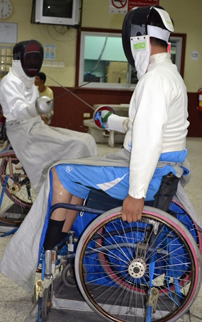 Wheelchair fencing.