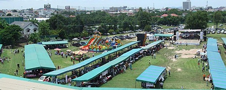 An aerial view of fair before opening in 2007.