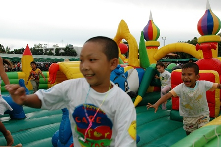 The bouncy castle, shown here in 2006, is always a big hit.