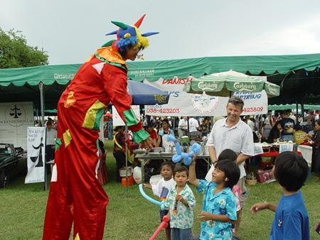 This stilted clown thrills the youngsters in 2009.