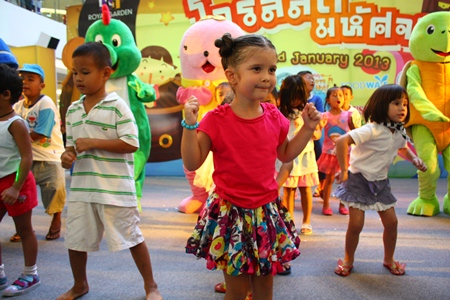 Youngsters perform the latest dance style with their friends, the dancing sea animals, at Royal Garden Plaza.  Saturday, January 12 was once again one of their favorite days of the year - Children's Day, and from navy ships to city halls, airports to shopping malls, children were everywhere as the Eastern Seaboard celebrated Thailand's annual festival for little ones.