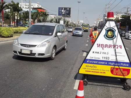 It seems to be target season in Pattaya, as checkpoints are popping up everywhere, like this one on Sukhumvit Road.
