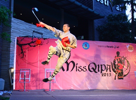 A martial arts student from Shaolin Kung Fu Syndicate flies through the air during his demonstration.