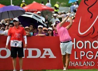 Yani Tseng tees off during the closing round of the 2012 Honda LPGA Thailand golf championship.