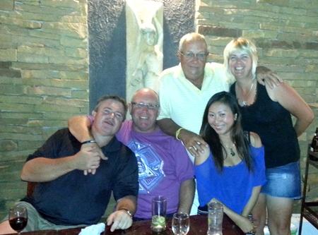 Richard Steadman, Allan Beck, Greig Ritchie, Plare and Karen enjoy some after golf drinks in Khao Yai.