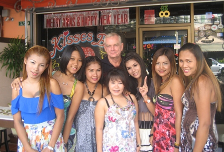 Don 'the Divorcer' (center rear) with the girls at Kisses Bar.