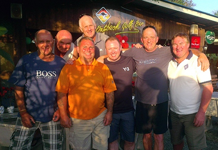 Monday podium placers pose for a group photo: (from left) Denis Steele, Capt' Stephen, Eddie Smith, Steve Plant, Dave Buchanan, Mike Bender and Paul Rodgers.