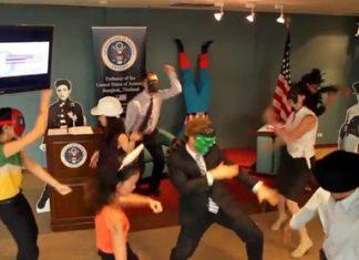 US Embassy staff in Bangkok perform the Harlem Shake.