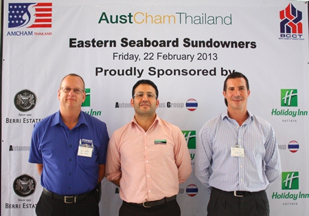 (L to R) Kevin Watkins, GM of Piper Plastic (Thailand), Sam Mizzi, MD of McConnell Dowell Constructors Thai Ltd., and Andy Hall, Operations Director of CEA.