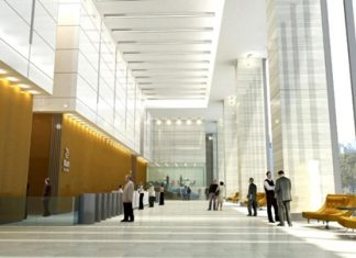 An artist's impression shows the interior of Bhiraj Tower in Bangkok.