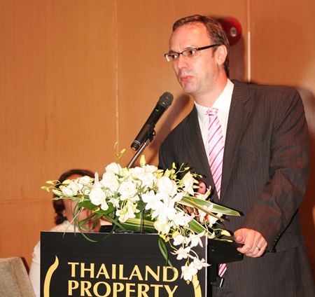 Terry Blackburn, CEO of Ensign Media Ltd., addresses the media at the launch of the 2013 Thailand Property Awards.