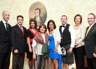 """The Bangkok St. Andrews Society organised a """"Burns Supper 2013"""" at the Amari Watergate Bangkok recently. Guests included (l-r) British Ambassador H.E. Mark Kent, Chilean Ambassador H.E. Javier Becker, Ana Becker, Martine Kent, Mrs. Phenix, Paul Phenix (Chieftain), Nahathai Puntongdee, Marketing & Communication Manager, Air France and Pierre-Andre Pelletier, the hotel's GM."""