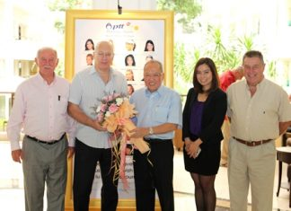 Chatchawal Supachayanont (center), GM of Dusit Thani Pattaya welcomes officials from Pentangle Promotions, led by Geoffrey Rowe (2nd left) as they pose in front of the 'Hall of Fame' of the WTA players who participated in this year's PTT Pattaya held at the hotel recently. The tournament is one of the longest running events on the Women's Tennis Association (WTA) tour following directly on from the Australian Open. Dusit Thani Pattaya has been the official hotel to the prestigious tournament since its inception in Pattaya twenty two years ago. The 2010 Open was voted as 'Tournament of the Year' by the players citing the wonderful adventures they experienced in Pattaya as well as the welcoming reception provided by the staff and management of the hotel.
