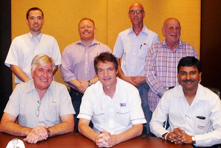 (L to R) Front row: Frank Holzer, Uli Kaiser, Ramesh Ramanathan. Back row: Germain Thomas, Richard Jackson, Armin Walter, Ken Hinckley.