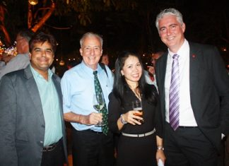 (L to R) Tony Malhotra, Deputy Managing Director, Pattaya Mail Media Group; Dr. Iain Corness; Dueanpen Thongsombat, Assistant Director of Sales; and Brendan Daly, GM of Amari Orchid Pattaya.