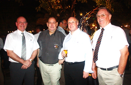 (L to R) Graham Macdonald MBE, Former Chairman and Honorary BCCT Member, Managing Director of MBMG Group; Bert Elson, David Cumming, Vice President Operational Development of ONYX, and Derek Brook, chairman of the Royal British Legion Chonburi Thailand Branch.