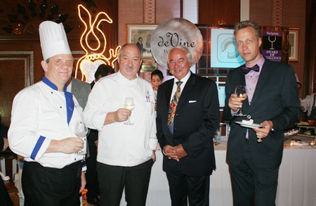 Enjoying the fruits of their labour are Executive Pastry Chef Horst Rautert, Executive Chef Walter Thenisch and Klaus Bodo Hund (Royal Wing Suites & Spa Resident Manager). Regular guest Decker Oskar Paul Alfred (2nd right) joined in the celebrations.