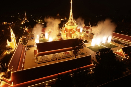 Fireworks explode at the site of cremation for Cambodia's former King Norodom Sihanouk in Phnom Penh. (AP Photo/Heng Sinith)