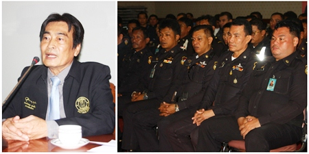 Deputy Mayor Ronakit Ekasingh (left) addresses Pattaya's 240 municipal officers, reminding them they must show respect to residents and tourists while maintaining peace and order in the city.