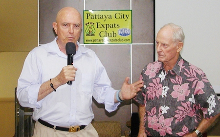 Board Member Richard Smith introduces fellow member Gary Brown, 'a man who needs no introduction', at least for older members. Gary is now resident in Florida, but doing a visa run to Thailand as he assists in peace negotiations in the Middle East, particularly between the main religious groups in the area. Let's hope he packs a cut lunch!