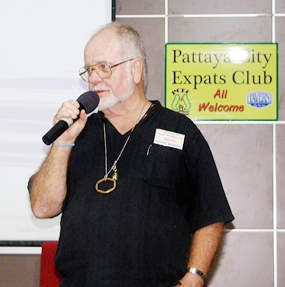 Board Member Jerry Dean reminds members that they and their children are welcome to come to the Bowling Day which the Friends of Youth arranges for orphans and other underprivileged children in the Pattaya area.