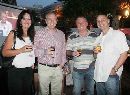 (L to R) Glonlu Jones, Tim Gladwin (MD of Sallmanns), John Howarth (MD of Asia Pacific Pensions), and Russell Jay Darrell (MIX 88.5 FM).