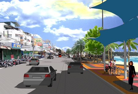 An artist's impression of what Pattaya Beach Road will look like after completion of the expansion and beautification project.