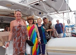 PILC members prepare for a great day aboard the catamaran Rhumba.