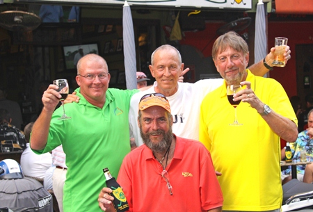 Cheers Boys!  Emmerson, Wagner, Le Noury and Hastie celebrate.
