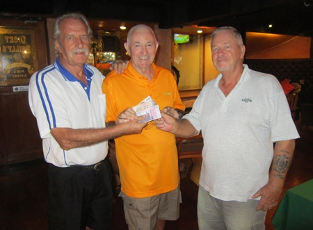 Happy 50/50 winners, the two Barry's with William Macey.