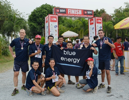Hilton Pattaya team members pose for a photo after completing the North Face 100 Thailand adventure race.