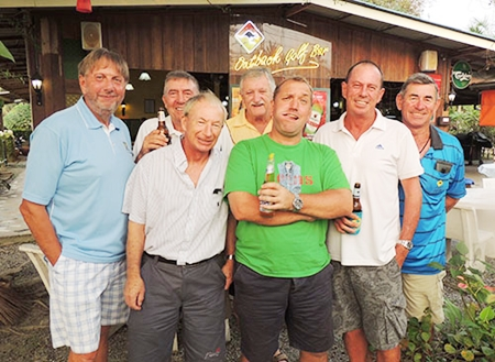 Friday podium placers: (from the left) Peter LeNoury, Eddie Beilby, Geoff Doody, John Player, Ron Dickie, Paul Bourke and Tim Knight.