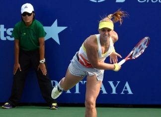 Sabine Lisicki serves to Marina Erakovic during her quarter-final match, Friday, Feb. 1.
