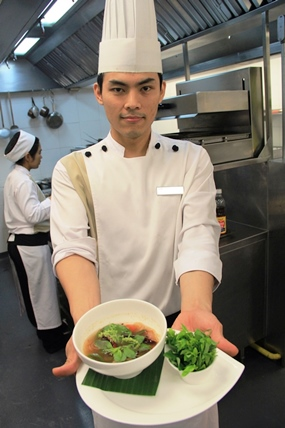 Chef Maytee with Thai dish: Tom Klong presentation at Flare restaurant.