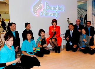 HRH Princess Ubolratana Rajakanya Siri Vadhana Phannavadi presided over the 45th Anniversary celebrations of Bangkok Airways at the fairground of Internationale Tourismus Boerse 2013 (ITB) held in Berlin, Germany recently. HRH the Princess was welcomed by Bangkok Airways President - Capt. Puttipong Prasarttong-Osoth (2nd right) together with Peter Wiesner Senior Vice President - Network Management, M.L. Nandhika Varavarn, Vice President - Corporate Communications and Ariya Prasarttong-Osoth, Vice President - Sales, and executives from Sales Department. Sorajak Kasemsuvan, President of Thai Airways International and Suraphon Svetasreni, Governor of the Tourism Authority of Thailand (TAT) also joined in the celebrations.