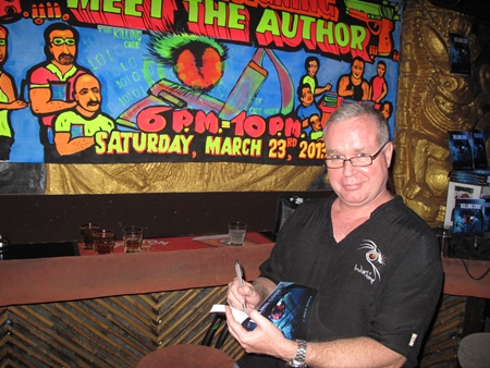 "Author Craig Hurren signs one of many copies of his exciting new thriller, ""The Killing Code"" at Tahitian Queen on Saturday evening. The event was such a success that he's been invited to repeat it next Saturday, March 30th starting at 6:00pm. Craig's writing has been compared to Tom Clancy, Michael Crichton, Vince Flynn and others - reviews of ""The Killing Code"" are excellent and available to view on Amazon.com, where the Kindle version is downloadable."